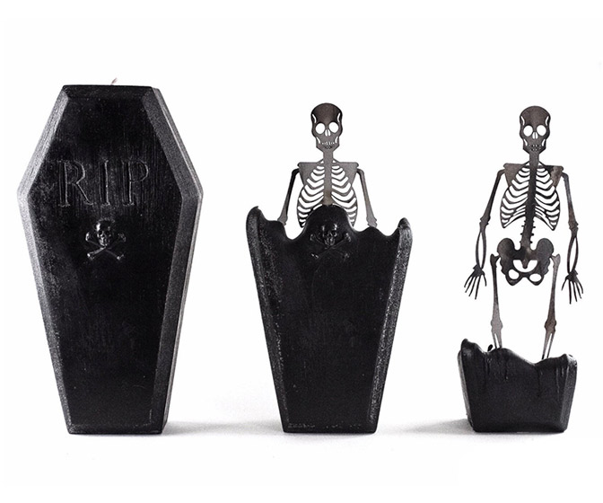 Creepy Coffin Skeleton Candle