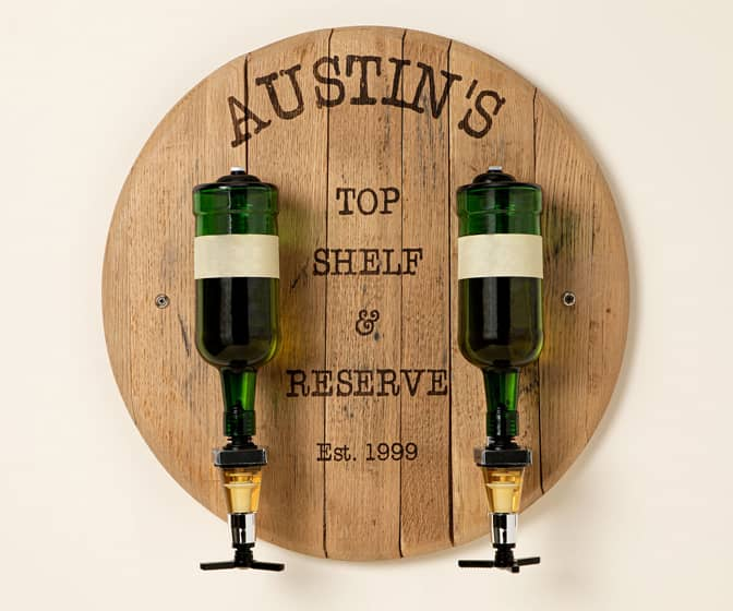 Custom Bourbon Barrel Double Bottle Liquor Dispenser