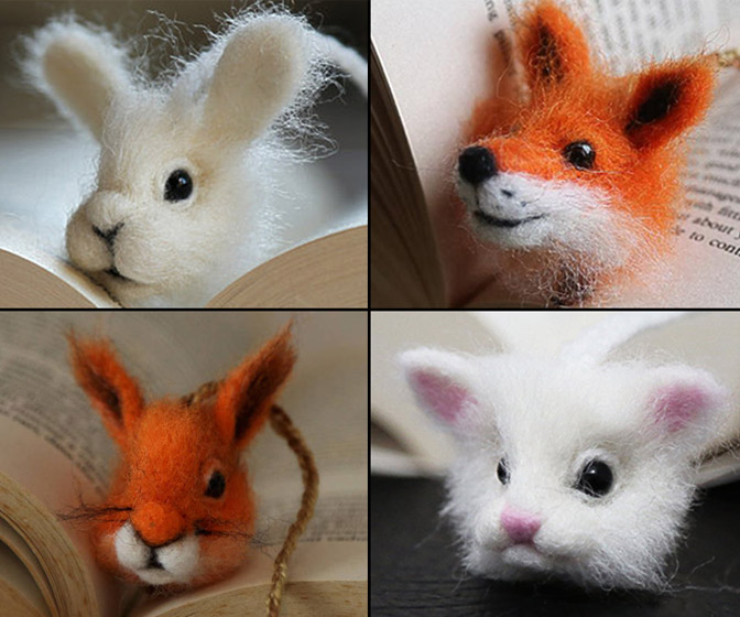 Cute Needle Felted Animal Head Bookmarks