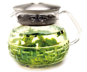 Dancing Leaf Glass Teapot