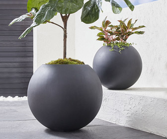 Dark Gray Outdoor Sphere Planters