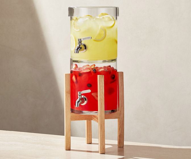 Double-Decker Glass Drink Dispenser