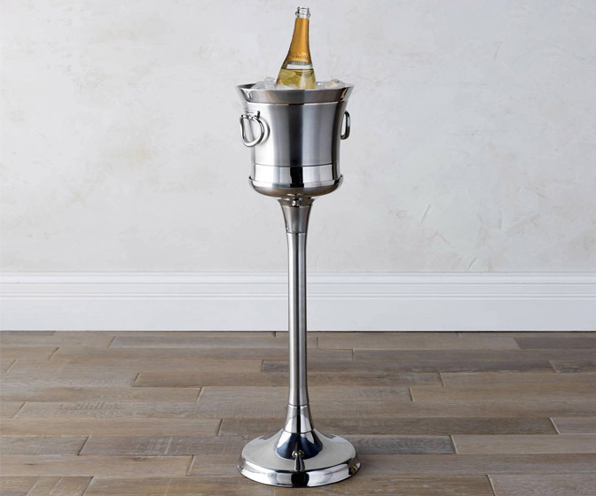 Double-Walled Stainless Steel Champagne Bucket and Stand
