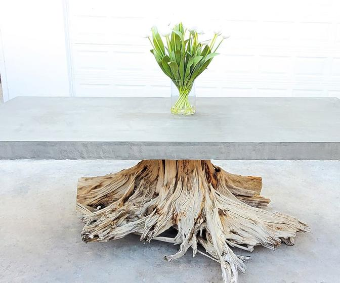 Driftwood Stump and Concrete Dining Table