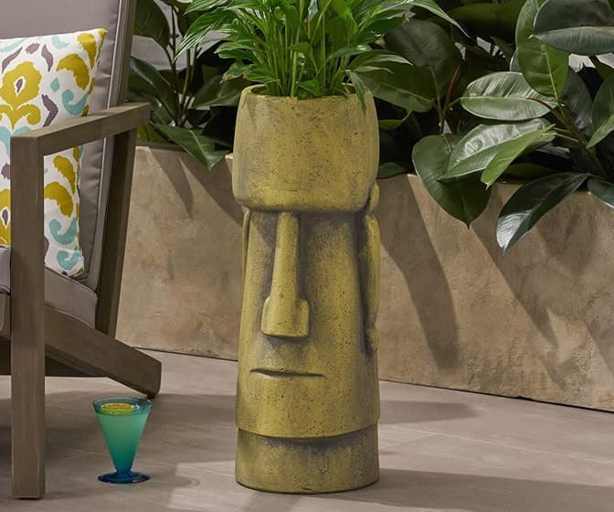 Easter Island Moai Head Urn Planter
