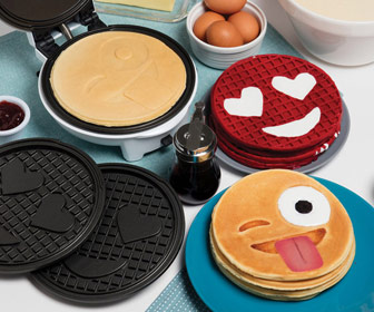 Emoji Pancake and Waffle Maker w/ Interchangeable Plates