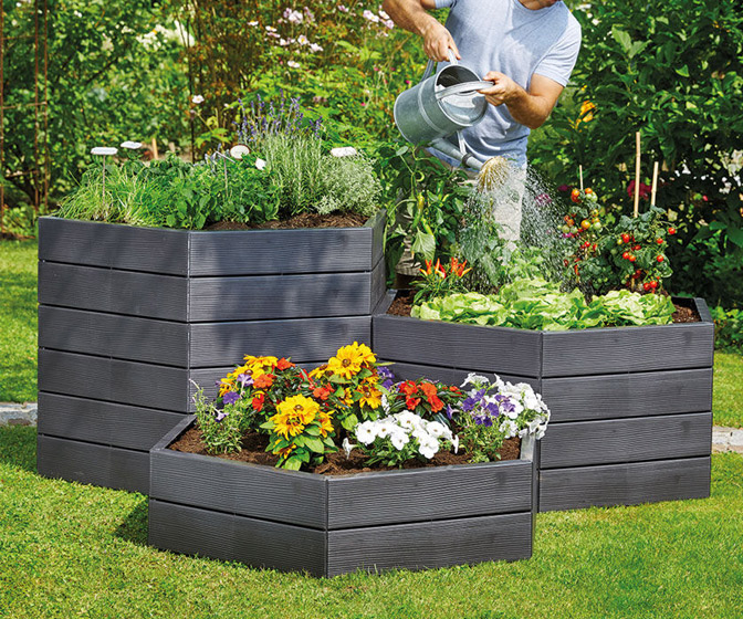 Exaco Modular Hexagon Raised Garden Bed Planter