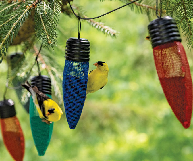 Festive Holiday String Light Bird Feeder