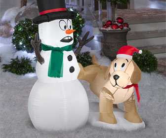 Festive Inflatable Dog Peeing on a Snowman