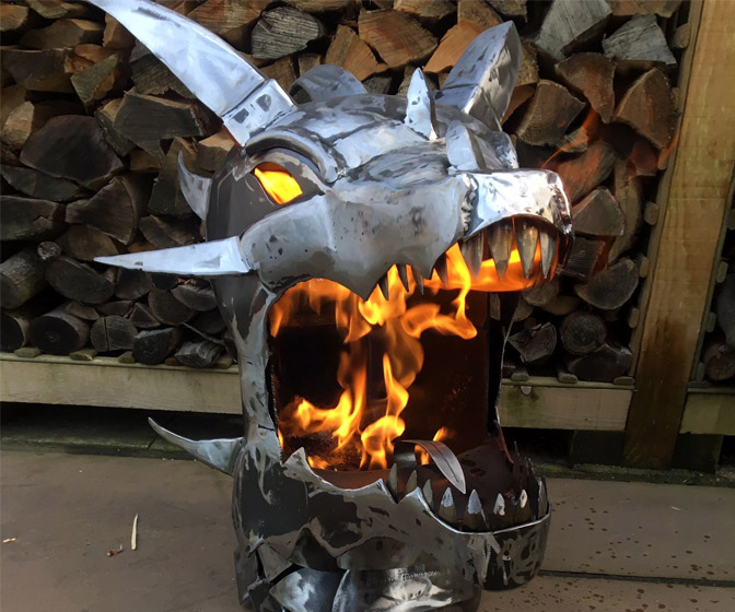 Fire-Breathing Dragon Fire Pit / Metal Art