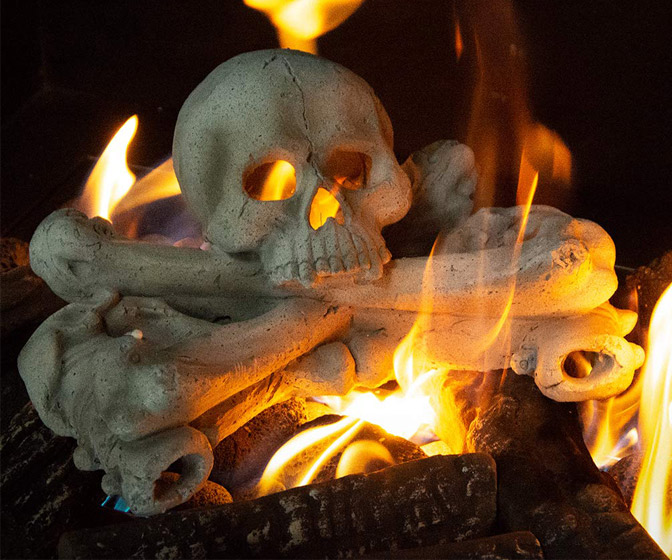 Fire Pit Skull and Crossbones Log