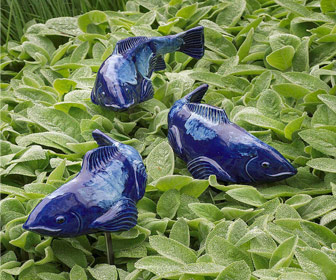 Fish In The Garden Swimming Koi Sculptures
