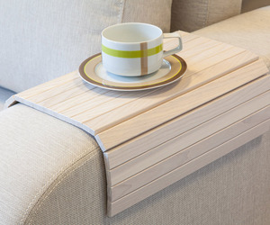 Flexible Wooden Sofa Armrest Tray Table