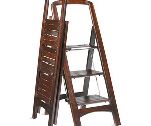 Fold Flat Mahogany-Finished Wooden Stepladder