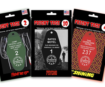Fright Tags Key Tags - Bates Motel, Overlook Hotel, Camp Crystal Lake, and More