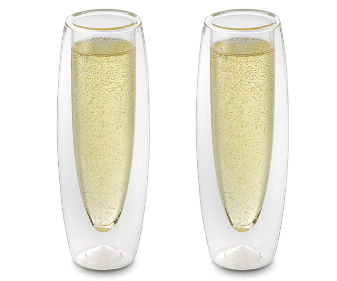 Futuristic Stemless Double-Walled Champagne Flutes