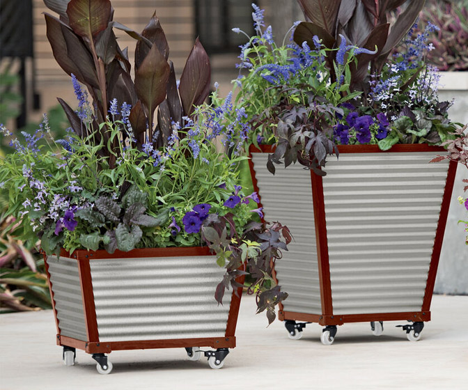 Galvanized Corrugated Metal Self-Watering Planters