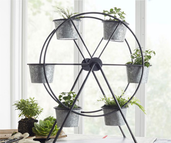 Galvanized Ferris Wheel Planter