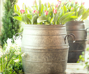 Galvanized Metal Barrel Planter