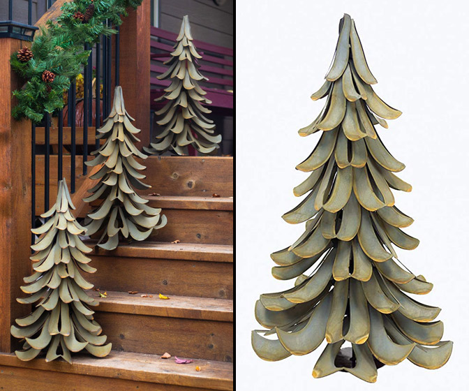 Galvanized Steel Christmas Tree Sculpture