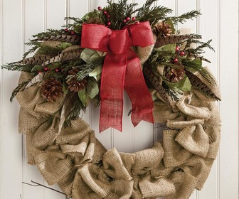 Gathered Burlap Twig Wreath