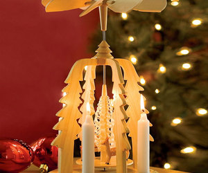 German Christmas Pyramid - Wooden Candle-Powered Carousel