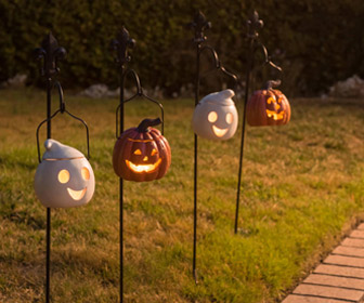 Ghost and Pumpkin Halloween Pathway Lanterns
