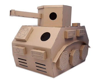 Giant Cardboard Tank Playhouse
