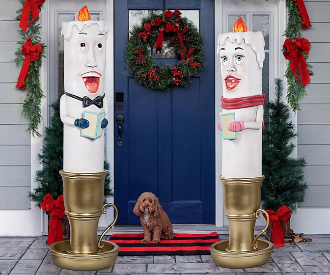 Giant Caroling Candlestick Statues