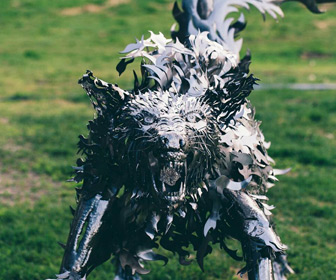 Giant Handmade Metal Wolf Sculpture
