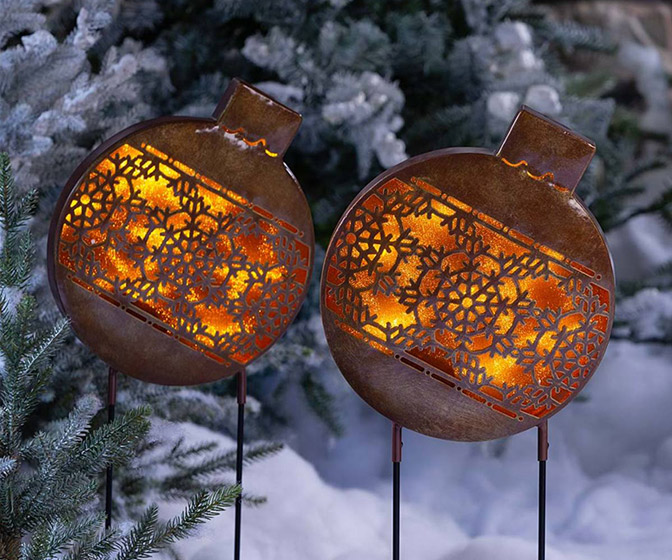 Giant Outdoor Lighted Christmas Ornament Lawn Stakes