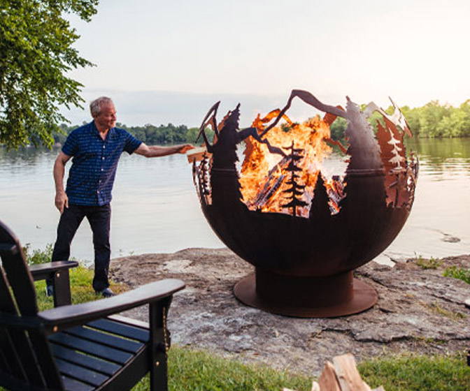 Gigantic Mountain Forest Fireball Fire Pit