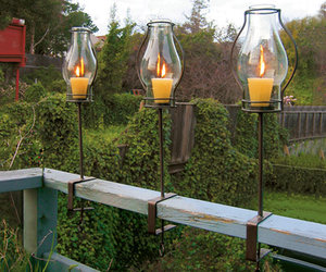 Glass Hurricane Railing Lanterns