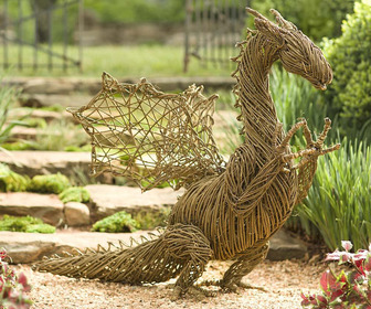 Handcrafted Grapevine Dragon Statue