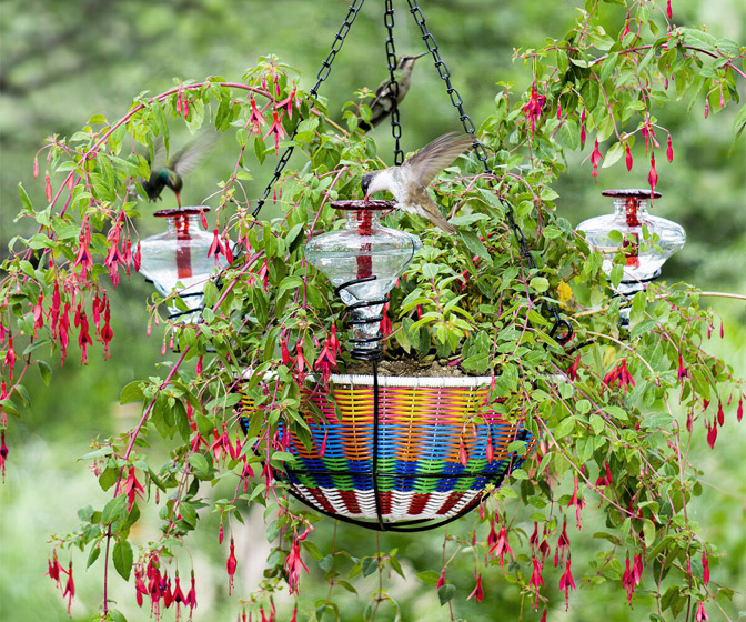 Hanging Planter Basket / Hummingbird Feeder