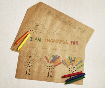 Happy Turkey - Thanksgiving Coloring Paper Placemats
