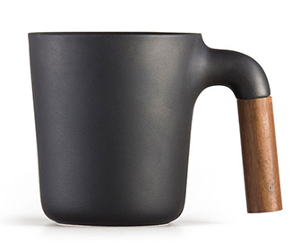 HMM Mugr - Japanese Ceramic Coffee Mug With Wooden Handle