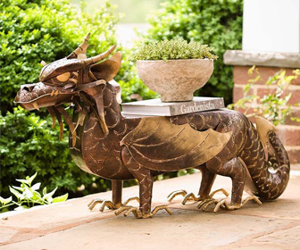 Illuminated Metal Dragon Side Table