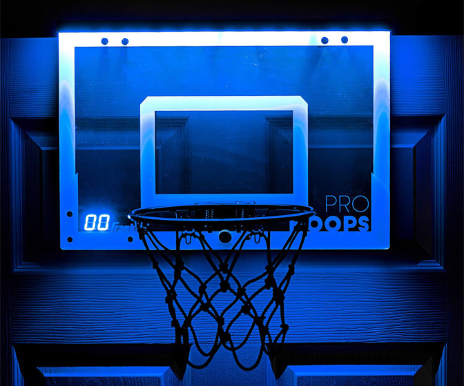 Illuminated Over-the-Door Indoor Basketball Hoop with LED Scoring