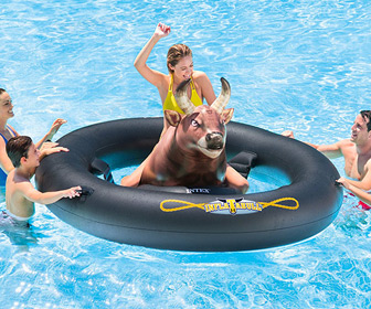 Inflat-a-Bull - Inflatable Bull-Riding Pool Toy