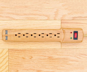 Invisiplug Surge Protector w/ USB Ports - Blends In With Hardwood Floors