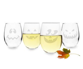 Jack O' Lantern Stemless Wine Glasses