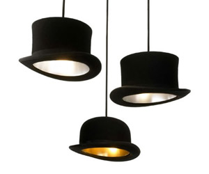 Jeeves And Wooster - Authentic Bowler and Top Hat Pendant Lights