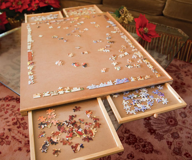 Jumbo Jigsaw Puzzle Table - Portable Work Surface, Organizer, and Storage System