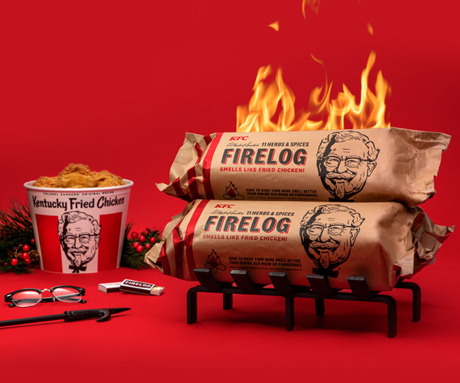 KFC Fire Log - Fried Chicken-Scented Starter Log!