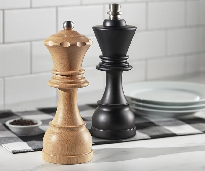 King and Queen Chess Piece Salt and Pepper Mills