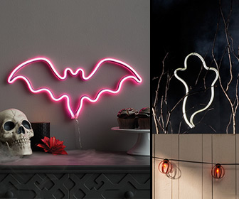 LED Bat and Ghost Silhouette Signs