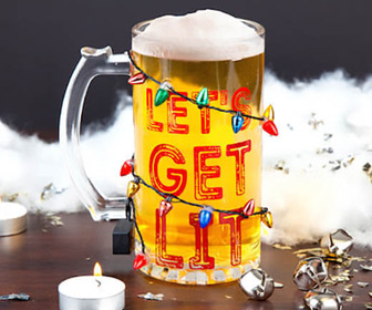 Let's Get Lit Light Up LED Holiday Beer Glass