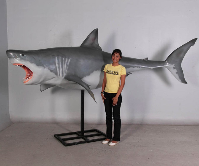 Life-Sized Great White Shark Statue - 12' Long!