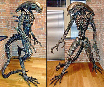 Lifesize Scrap Metal ALIEN Statue